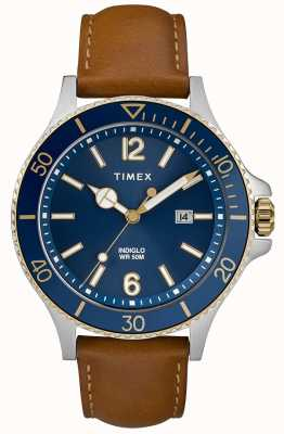 Timex Mens Brown Leather Strap Blue Dial TW2R64500D