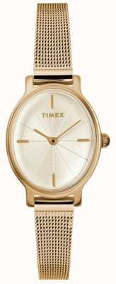Timex Ladies Milano Oval Gold Mesh Watch TW2R94400D7PF