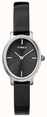Timex Ladies Milano Oval Silver Mesh Watch Black Dial TW2R94500D7PF