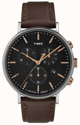 Timex Fairfield Chronograph Brown Strap Black Dial TW2T11500D7PF