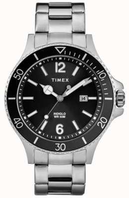 Timex Mens Harborside Stainless Steel Bracelet Black Dial TW2R64600