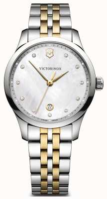 Victorinox Swiss Army Womens Alliance Small Two Tone Bracelet White Pattern Dial 241831