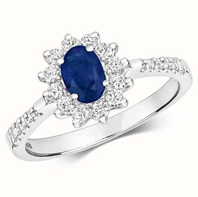Treasure House 9k White Gold Diamond Sapphire Ring RD502WS