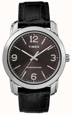 Timex Mens Classic Black Leather Croc Strap Black Dial TW2R86600