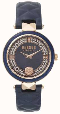Versus Versace Womens Covent Garden Blue Leather Strap Blue Stone Set Dial SPCD280017