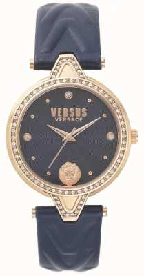 Versus Versace Womens V Versus Stone Set Blue Dial Blue Leather Strap SPCI340017