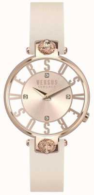 Versus Versace Womens Kristenhof Rose Gold Dial Pink Leather Strap SP49030018