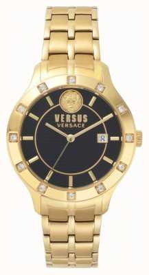 Versus Versace Womens Brackenfell Black Dial Gold PVD Bracelet SP46030018