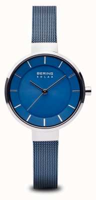 Bering Womens Solar, Sunray Dial, Silver Case, Blue Mesh Strap 14631-307