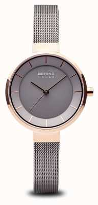 Bering Womens Solar Rose Gold Case, Stainless Steel Mesh Strap 14631-369