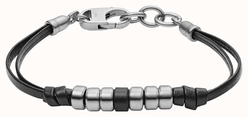 Fossil Mens Black Leather Stainless Steel Bracelet JF03000040