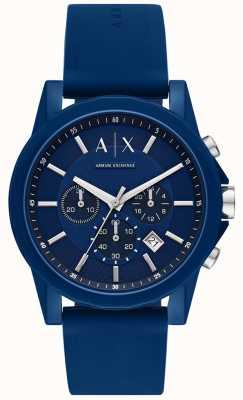 Armani Exchange Mens Sport Watch Gift Set | Blue silicon strap | AX7107