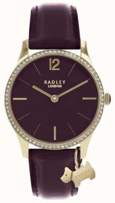 Radley Ladies Watch Purple Leather Strap Gold Case RY2708