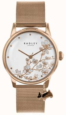 Radley Ladies Rose Gold Plated Stainless-Steel Mesh Bracelet Watch RY4348