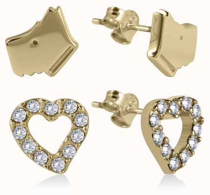 Radley Jewellery Gold Stone Plated Silver Set Heart And Dog Head Earrings RYJ1058