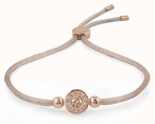 Radley Jewellery Rose Gold/mink Vintage Rose Stone Set Friendship Bracelet RYJ3016