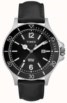 Timex | Men's | Indiglo Harborside | Black Dial | Black Leather | TW2R64400D7PF