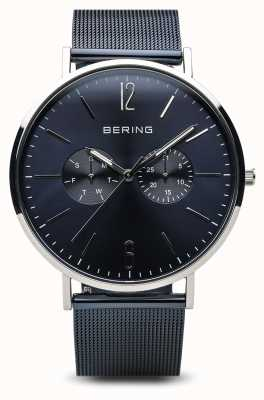 Bering Classic | Polished Silver | day date Blue 14240-303