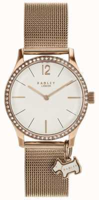 Radley Millbank Dog Charm Rose Gold Mesh Bracelet Watch RY4286