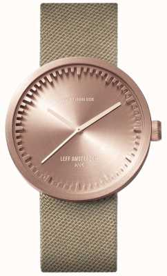 Leff Amsterdam Tube watch D38 | Cordura Rose Gold | Sand Strap LT71033