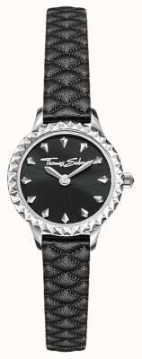 Thomas Sabo Womens Stainless Steel Case Black Leather Strap Black Dial WA0328-203-203-19