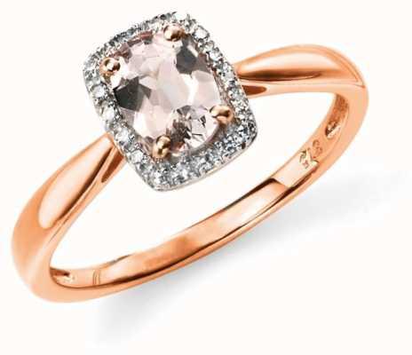 Elements Gold 9k Rose Gold Diamond Pink Morganite Ring GR517P54