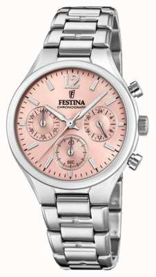 Festina Womens Boyfriend Chronograph Stainless Steel Pink Dial F20391/2