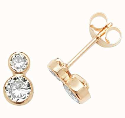 Treasure House 9k Yellow Gold Cubic Zirconia Stud Earrings ES625