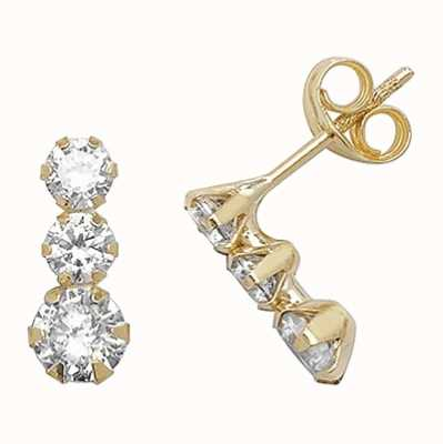 Treasure House 9k Yellow Gold Cubic Zirconia Drop Earrings ES375