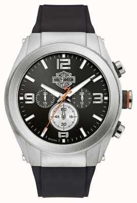 Harley Davidson Men's Rubber Strap Black Dial Chronograph 76B176