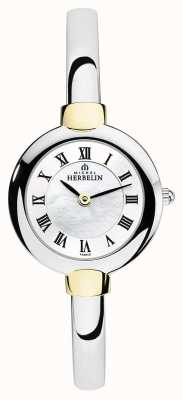Michel Herbelin Ladies Bangle Watch Silver | Gold | Mother Of Pearl Dial 17413/BT29
