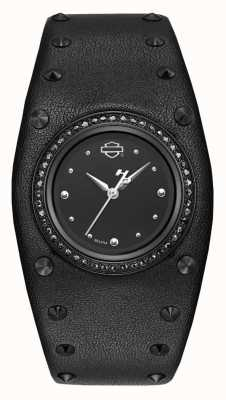 Harley Davidson Womens Studded Leather Cuff | Black Dial 78L128