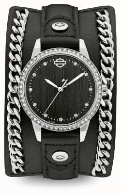 Harley Davidson Womens From The Chain Cuff Collection | Black Leather Strap 76L184