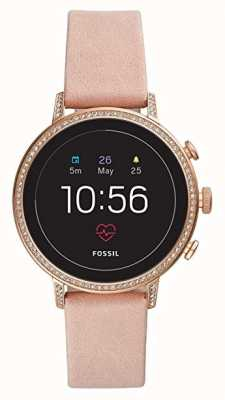 Fossil Connected Q Venture HR Smart Watch Blush Leather Stone Set FTW6015