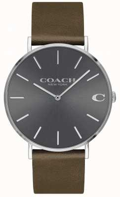 Coach Mens Charles | Brown Leather Strap | Grey Dial 14602153