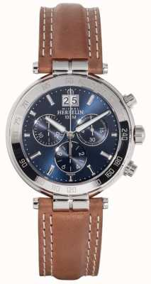 Michel Herbelin Mens Newport Brown Leather Strap Blue Dial 36654/AP15GO