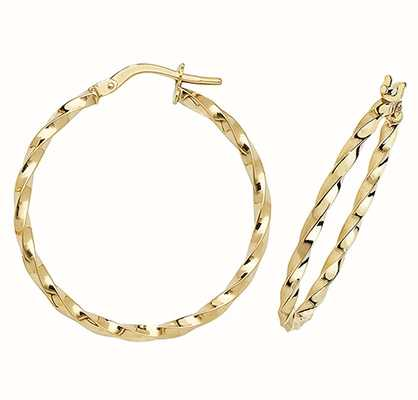 Treasure House 9k Yellow Gold Hoop Earrings 25 mm ER1008-25