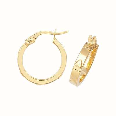 Treasure House 9k Yellow Gold Heart Pressed Hoop Earrings 12 mm ER665