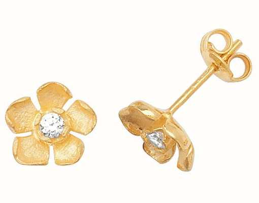 Treasure House 9k Yellow Gold Cubic Zirconia Flower Studs ES326