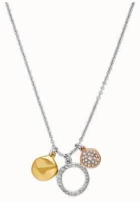"Adore By Swarovski Organic Circle Charm Necklace 16-18"" Rhodium Plated Tri-Tone 5419363"