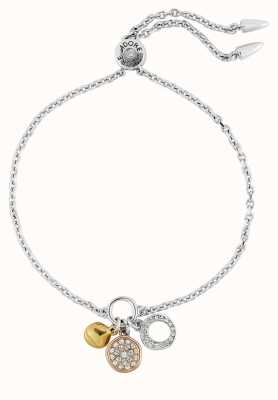 "Adore By Swarovski Organic Circle Charm Bracelet 6.5-8"" Rhodium Plated Tri-Tone 5419369"