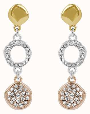 Adore By Swarovski Organic Circle Drop Earrings Rhodium Plated Tri-Tone 5419379