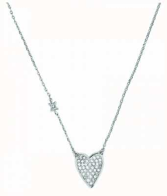 """Adore By Swarovski Pointed Heart Necklace 16-18"""" Rhodium Plated 5303077"""