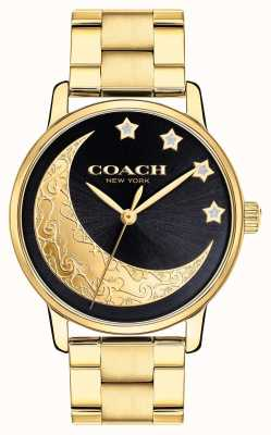Coach | Womens Grand Watch | Gold With Moon Detailing On Face | 14503278