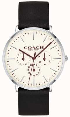 Coach | Mens Varick Watch | Black Leather Strap White Dial | 14602387