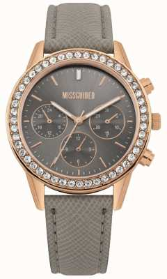 Missguided   Ladies Watch   Grey Leather Strap Rose Gold Case   MG002ERG
