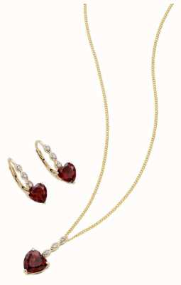 Elements Gold 9k Yellow Gold Garnet Necklace and Earring Set Z1220
