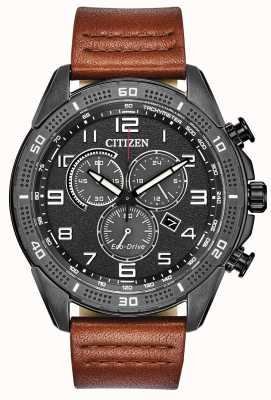 Citizen Eco-Drive Action Required Men's Grey Dial Leather WR100 AT2447-01E