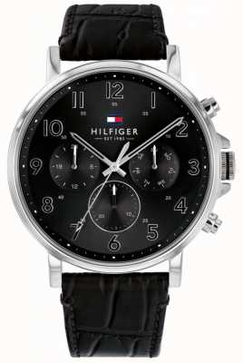 Tommy Hilfiger | Mens Black Leather Daniel Watch | 1710381