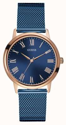 Guess | Mens Wafer | Blue Mesh Strap | Blue Dial | Rose Gold Case W0280G6